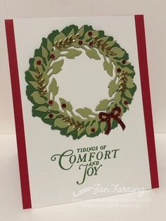 Tidings All Around (Jan's Stamping Creations) Christmas Card Crafts, Homemade Christmas Cards, Stampin Up Christmas, Xmas Cards, Simple Christmas, Homemade Cards, Holiday Cards, Christmas Wreaths, Christmas 2019