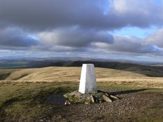 The fantastic panorama from the trig point on The Calf in the Howgill Fells.