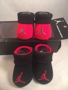 bab750946b12 2 Pair Nike Air Jordan 0-6 Months Baby Booties Infant Newborn Red Black Gift   NikeAirJordan  Booties