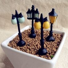 Artificial street lamp mini fairy garden miniature gnomes moss terrariums resin crafts figurines for home decoration accessories(China (Mainland))