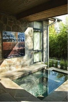 an indoor-outdoor bathroom with a sunken bathtub or pool, done with stone and tiles plus sunshine coming from outside Outdoor Spa, Indoor Outdoor Bathroom, Outdoor Decor, Hot Tub Backyard, Cozy Backyard, Backyard Patio Designs, Backyard Ideas, Marin County, Indoor Swimming Pools