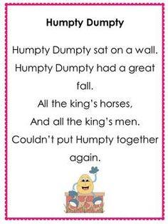 Humpty Dumpty sat on the wall (Free Nursery Rhyme Posters) Nursery Rhymes Preschool, Fall Preschool, Preschool Books, Nursery Rhythm, Nursery Rhymes Songs, Early Learning, Kids Learning, Rhyming Activities, Alphabet For Kids