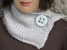 grey scarf with porcelain button