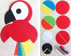 Parrot craft idea for pirate day Pirate Day, Pirate Theme, Pirate Birthday, Diy For Kids, Crafts For Kids, Arts And Crafts, Easy Crafts, Parrot Craft, Construction Paper Crafts