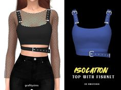 Isolation Topwith Fishnet by Grafity-CC Sims 4 Cc Packs, Sims 4 Mm Cc, Sims Four, Sims 4 Mods Clothes, Sims 4 Clothing, Cc Top, Mode Lookbook, Fashion Dress Up Games, Sims 4 Gameplay