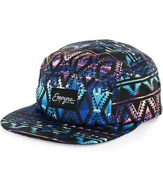 Snag a stand out style with an all over tribal and city skyline photo collage graphic print on a low-profile 5 panel crown for a comfortable fit.