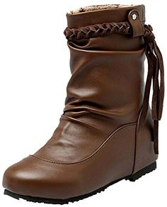2016 autumn new women shoes PU fringed boots US95 brown ** You can find more details by visiting the image link.