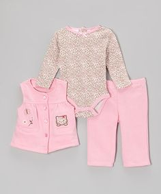 Take a look at this Pink Cheetah Bodysuit Set by Baby Headquarters on #zulily today!