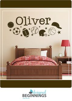 Sports Decals Stickers Name Wall Decal Personalized Kids For Boys DB241