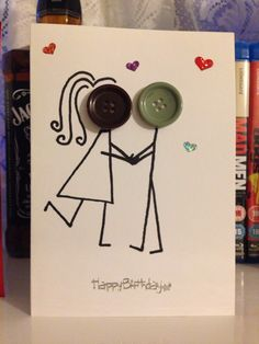 Happy birthday card boyfriend/girlfriend. Button faces. Handmade card. Love, partnership, couples...