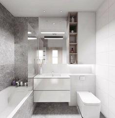 Bad in zwei aufgeteilt - graue und weiße Fliesen für jede Zone