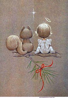 vintage retro Christmas angel and squirrel, Artist: Ruth Evans Morehead Vintage Christmas Cards, Christmas Pictures, Christmas Angels, Christmas Art, Vintage Cards, Christmas Decorations, Christmas Ornaments, Crochet Christmas, Xmas