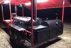 This BBQ pit smoker is a show stopper! You'll have plenty of space on this pull behind trailer to entertain any size crowd. Bbq Smoker Trailer, Bbq Pit Smoker, Drum Smoker, Trailer Smokers, Pit Bbq, Custom Bbq Smokers, Custom Bbq Pits, Custom Bbq Grills, Homemade Smoker Plans