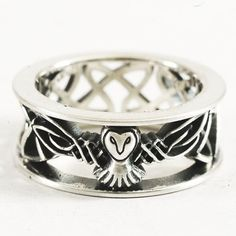 Barn Owl Ring Sterling Silver Ring Celtic Owl Woven by Spoonier