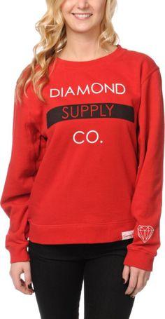 Diamond Supply Co. Girls Bar Red Crew Neck Sweatshirt