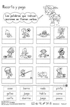 Ficha con ejercicios sobre el verbo, para niños de 2do grado de educación primaria. Las palabras que indican acciones se llaman verbos
