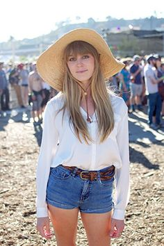 Basic White Button Front with Denim Shorts, Topped with a Straw Hat