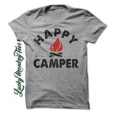 Happy Camper Tshirt Camping  Tee Womens Shirt Mens Tee Youth Shirt Funny Camp…