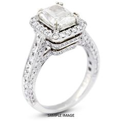 vintage pave engagement rings rectangle - Google Search