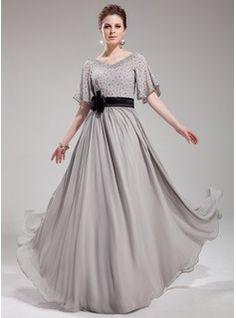 A-Line/Princess V-neck Floor-Length Chiffon Charmeuse Evening Dress With Sash Beading Flower(s) Sequins