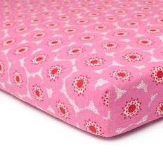 Fitted Crib Sheet - Anemone Pink & Red