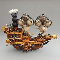 This is my Steampunk Airship that is a part of our Community Build called Ruins of San Victoria. Minecraft Steampunk, Steampunk Lego, Steampunk Ship, Lego Pirate Ship, Lego Ship, Lego Boat, Lego Universe, Lego Creator Sets, Lego Mechs