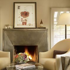 steel mantel   Metal fireplace mantel   fireplaces