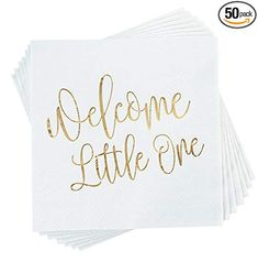 Amazon.com: Baby Shower Cocktail Napkins - 50 Pack Gold Foil Welcome Little One Disposable Paper Party Napkins, Perfect for Baby Shower Decorations and Gender Reveal Party Supplies, 5 x 5 inches, White: Health & Personal Care