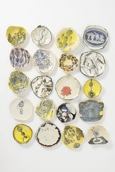 A selection of work from Ruan Hoffmann's website.South African artist Ruan Hoffmann uses text and drawing on seemingly delicate surfaces. His work was featured in Anthropologie, NYC last year. {Thank you to Louis Boshoff for the link. Ceramic Clay, Ceramic Plates, Ceramic Pottery, Clay Plates, Kintsugi, Pattern Wall, Cerámica Ideas, South African Artists, Contemporary Ceramics