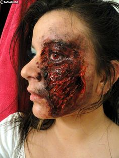 car accident burned face makeup for Halloween
