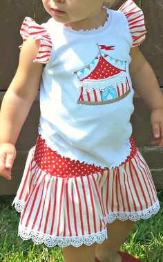 Circus Lace Trimmed Skirt by TheStripedSwallow on Etsy, $24.00