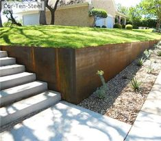 Steel Retaining Wall Retaining and Landscape Wall Austin Outdoor Design Austin, TX Landscaping Austin, Modern Landscaping, Front Yard Landscaping, Landscaping Ideas, Landscaping Software, Retaining Wall Landscaping, Landscaping Blocks, Garden Retaining Wall, Professional Landscaping