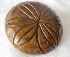 Large VINTAGE Mottled Brown & Black Flower Carved Bakelite