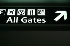 """In 75% of all airports, you'll find one of three typefaces: Helvetica, Frutiger, and Clearview. All three are sans serif because it's easier to read at a distance. The unofficial rule for size, according to the Transportation Research Board's guide to wayfinding, is that every inch of letter height adds 40 feet of viewing distance (so a """"3 inch tall letter would be legible from 120 feet"""")."""