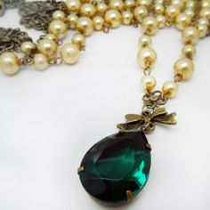 Ivory Pearl and Emerald Faceted Crystal Necklace by vdrJewelry, $75.00