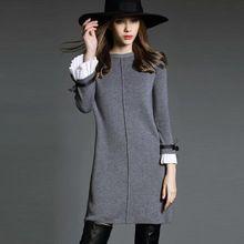 2016 зима осень Большой размер формальные женщины одеваются долго вспышка рукав причинно элегантный твердые широкий платья выше колен WQ29(China (Mainland))