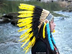 Yellow Native American Headdress War bonnet by TheLandOfCockaigne