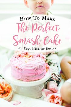 Looking for a little inspiration for baby's first birthday cake smash photo shoot? We're keeping it simple and adorable for Emmeline's cake smash, plus, we're sharing our favorite dairy-free vanilla crazy cake; a.k.a., the perfect smash cake recipe! Vanilla Crazy Cake Recipe, Crazy Cake Recipes, Smash Cake Recipes, Crazy Cakes, Easy No Bake Desserts, Sweet Desserts, Vegan Desserts, Strawberry Swirl Cheesecake, Cheesecake Strawberries