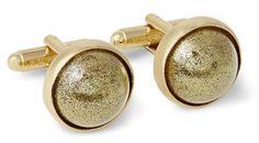 Maison Martin Margiela Gold-Plated Glitter Dome T-Bar Cufflinks sur shopstyle.fr