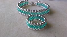 PULSERA Y ANILLO VERDE Y PLATA-BRACELET AND RING LIGHT EMERALD AND SILVE...