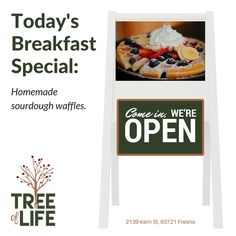 Don't miss today's breakfast special - delicious Homemade Sourdough Waffles. Come on in! #Breakfast #Specials