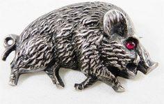 Vintage Silver Wild Boar Hog Brooch Pin With Ruby Glass Eye