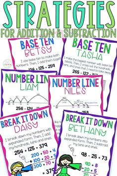 These math posters & math strategies are for Common Core math standards. Students will learn various 2-digit & 3-digit subtraction with regrouping strategies such as number lines, decomposing numbers, & base ten blocks to solve two digit addition & subtraction with regrouping & without regrouping. These student posters & anchor charts are designed for 2nd grade. They are fun & include puzzles, games, & task cards, & help students use place values to solve 2-digit addition & 3-digit subtraction.