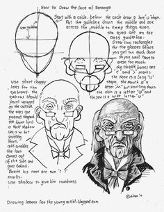 How to Draw Worksheets for The Young Artist: How To Draw The Face of Scrooge Free Printable Wor...
