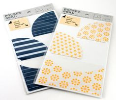 Add pockets to any journal or scrapbook with these pretty and convenient pocket seals from Midori!  http://www.maigocute.com/collections/scrapbooking/products/journal-pocket-seal-organizer-blue-stripe-midori