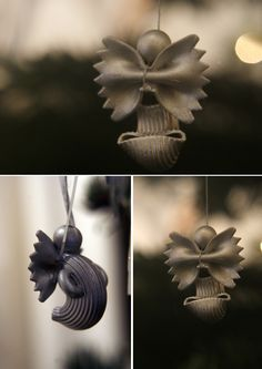 Pasta #Angel! Use a Pipe Rigate for the body--then glue on two small Macaronis for the arms. Glue a piece of Farfalle to the back and find a small wooden ball at your local craft store to glue on as the head. Spray paint silver or gold, attach a string, and your pasta angel is complete!