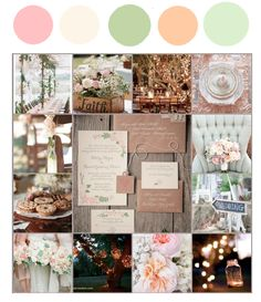 Our Color Palette/Vision Board, blush, ivory, sage, peach, and dusty green wedding color palette