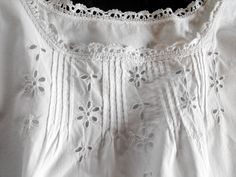 French Vintage Nightgown Fine Cotton with by Vintagefrenchlinens, $85.00