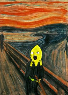 "Earl of Lemongrab from ""Adventure Time with Finn and Jake"" - nothing is OK with him.  This is the most perfect fan tribute: Edvard Munch's ""The Scream"" - Lemongrab edition (OC) - Imgur"