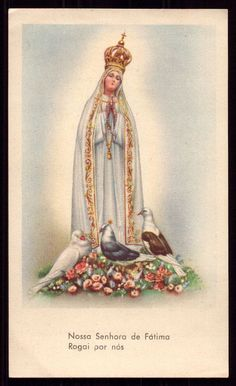 Our Lady of FATIMA after Coronation with DOVES. Vintage HOLY CARD #HolyCard